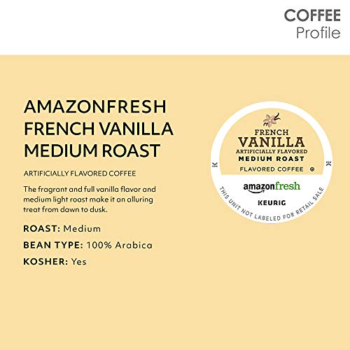 AmazonFresh 12 Ct. K-Cups, French Vanilla Flavored Medium Roast, Keurig K-Cup Brewer Compatible