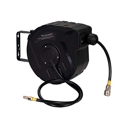 STAHLWERK Druckluft-Schlauchtrommel 10+1 m mit Aufroll-Automatik, bis 18 Bar 3/8 Zoll Anschluss, Snap-Funktion, robustes Kunststoffgehäuse inklusive Wandmontage-Set