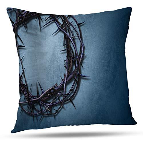 LILYMUA Blue Christmas Pillow Cover,Crown Thorns Easter Christian Cross Faith God Gospel Jesus Soft Pillow Case 18x18 Inch Square Decorative Pillowcase for Sofa Bed Home Decor,Navy Blue