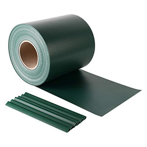 Sekey PVC Sichtschutzstreifen Rolle Zaunfolie Blickdicht Anti-UV Wetterfest und Anti-Fading Windschutz für Doppelstabmatten Zaun mit 26 x Befestigungsclips 19 cm x 50 m Grün