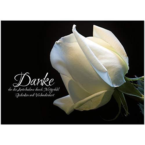 Trauer Danksagungskarten mit Umschlag | Motiv: Weiße Rose, 15 Stück | Dankeskarten DIN A6 Set | Trauerkarten Danksagung Danke sagen