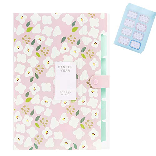 Handlive Floral Printed Expanding File Folders with 5 Pockets and 48Pcs Colored Labels, Accordion Document File Organizer A4 Letter Size File Jackets for School Office Home Business (Pink)