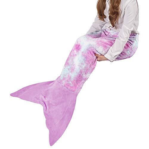 Viviland Meerjungfrau Decke für Jugendliche Mädchen, Fischschuppen Muster, super weiche Plüsch Flanell Schlafsack Decke, Gitter Regenbogen/Lila, 48x130cm
