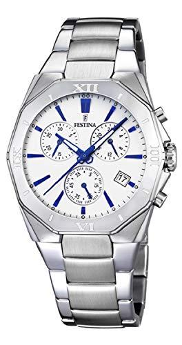 Festina Reloj Caballero - Plateado y Azul - Correa de Acero - Ref. F16757/5