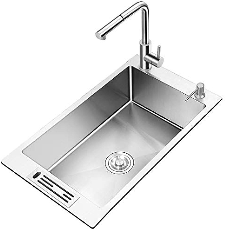 Küchenspülen Spülbecken Waschbecken Duschwanne Spülbecken Edelstahlspüle Reinigung der Spüle BadinsGrößetion (Farbe   Silber, Größe   45cm)