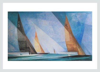 Germanposters Lyonel Feininger Segelboote Poster Kunstdruck Bild im Alu Rahmen in Silber matt 70x50cm