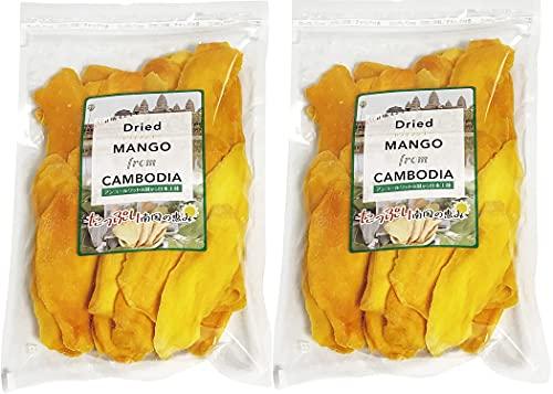ドライマンゴー カンボジア産 スライスカット 砂糖使用量を低減した低糖加工 着色料・香料不使用 おかえりマンゴー ケオロミート種 KIRIROM キリロム (400g×2袋)