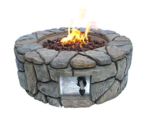 Peaktop HF09501AA Round 40,000 BTU Propane Gas Fire Pit Stone Look for Outdoor Patio Garden Backyard Decking with PVC Cover, Lava Rock, 28' x 28', Gray