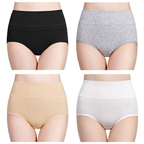 wirarpa Culotte Femme Taille Haute Boxer élastique Coton Slip Confort Shorty Lot de 4 Multicolore...