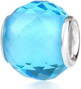 Abalorio de plata de ley 925 de Murano Lampwork de cristal de piedra natal encanto del cumpleaños del encanto del aniversario para la pulsera del encanto de Pandora … (azul claro)