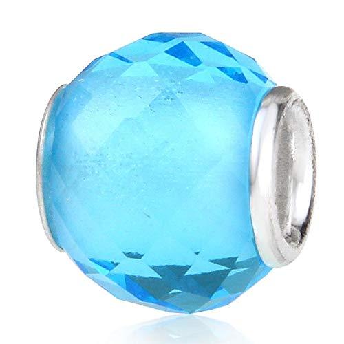 Abalorio de plata de ley 925 con diseño de Murano Lampwork de cristal de piedra natalicia de cumpleaños para pulsera Pandora (azul claro)
