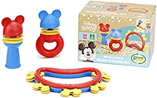 Green Toys Disney Baby Exclusive - Mickey Mouse Shake & Rattle Set, DSRTS-1435