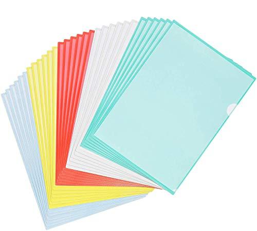 STARVAST 30 Pcs Chemise Plastique A4 - Pochette Porte Document A4,pour Classification Documents - 31X22cm - Couleurs Assorties