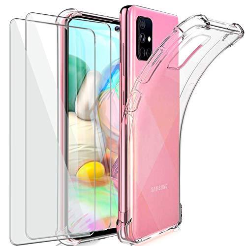 HTDELEC Cover per Samsung Galaxy A71 + 2 Pezzi Pellicola Vetro Temperato,Custodia Trasparente TPU Silicone Case Antiurto Corner Cushion Bumper Cover per Samsung Galaxy A71 (Clear)