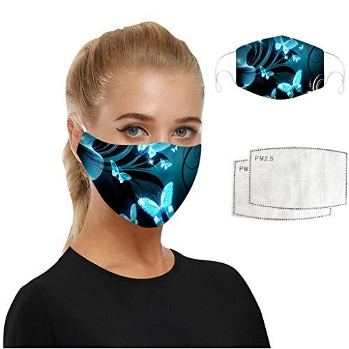 WEXCV 1pc Face Cover + 2pcs Filters Mundschutz Multifunktionstuch Motorrad Winddicht Atmungsaktiv Mundschutz Halstuch Schön Atmungsaktiv Sommerschal (D)