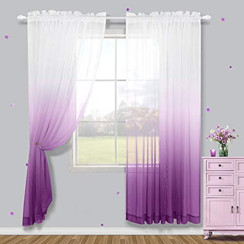 Girls Bedroom Curtains 2 Panels Sheer White Purple Ombre Curtains Faux Linen Window Voile Drape Semi Sheer Curtains for Teen Closet Little Princess Room Rod Pocket 52 x 84 Inch Light Lilac Lavender
