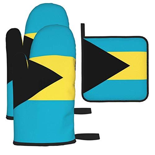 Guantes de Horno Guantes de para Horno Antideslizante Resistentes al Calor,Bandera de Bahamas,2 Guantes de Horno + 1 Almohadillas de Mantel