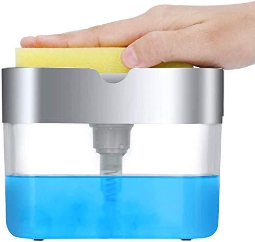 NINI'S Original Soap Pump Dispenser for Kitchen and Sponge Holder 2-in-1 - Premium Quality Dish Soap Dispenser - Counter Top Sink Dispenser - Instant Refill - Durable & Rustproof