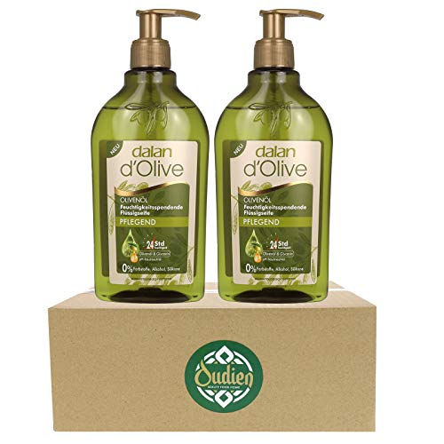 OUDIEN 2er Set dalan d'Olive Flüssigseife pflegend je 300ml, Seife flüssig im Spender, Handwaschseife pH neutral mit Olivenöl