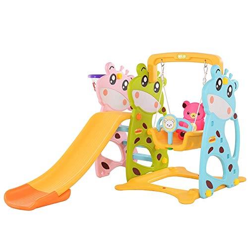 TikTakToo 3in1 Kinder Spielplatz mit 160 cm Rutsche, höhenverstellbare Schaukel + Basketballkorb | Indoor und Outdoor | Spielturm und Rutsche mit extra Breiten Stufen (rosa-blau-grüne Kuh)