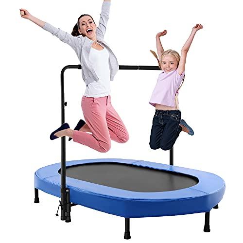 Eloklem Trampolino Mini trampolino per saltare fitness per bambini e adulti, per interni ed esterni, peso massimo: 75 kg a 135 kg, Blu, 143 x 91 cm