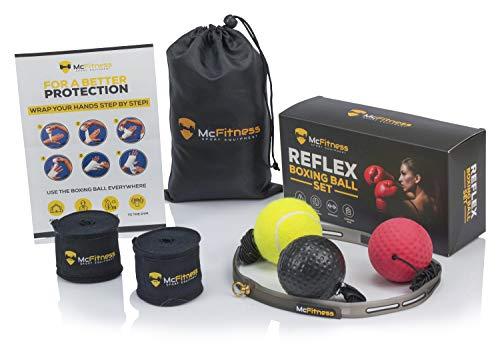 Boxball Box punching ball, Reflex ball mit Boxwickeln, Boxkopfschutz, MMA Ausrüstung und box equipmentfür das Training. Für Männer, Frauen und Kinder, alle Altersgruppen