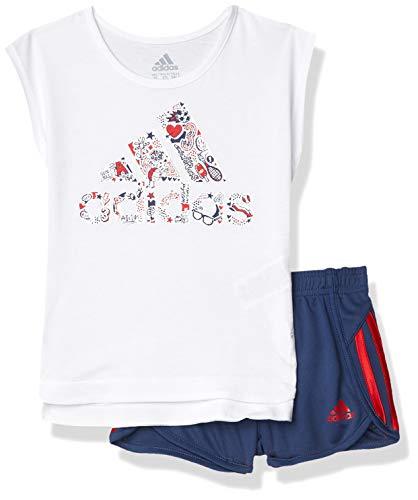 adidas Girls' Toddler Sleeve Tee & Sport Short Clothing Set, White W/Navy, 3T