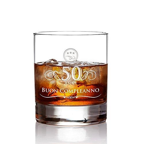 AMAVEL Tumbler da Whisky in Vetro con Incisione - 50 Anni - Buon Compleanno - Bicchieri Cocktail Personalizzati - Degustazione - Accessori Decorativi Casa - Idee Regalo Originali - Capacità: ca 320 ml