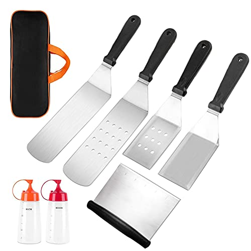 MARLBSIDE Flat Top Griddle Accessories Set,7 Pieces Grill Spatula Kit with Burger Spatulas Scraper, Griddle Tools Cooking Kit for Blackstone,Camp Chef,Hibachi Outdoor Griddle Accessories