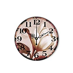 MOAAA Vintage Living Room Decoration Wall Clock with Silent Clock Beautiful Flowers Retro Home Decor Quartz Watch,Style 2,14Inch 35Cm