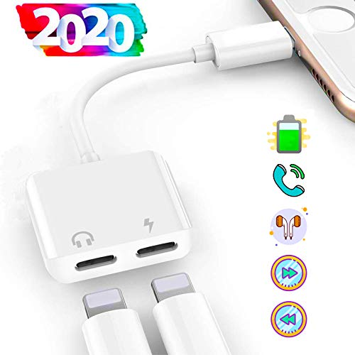 turelar Headphones Adapter for iPhone 11, Dual Audio Jack Splitter Adapter for iPhone Xs/XR/8P/X/7P Earphones and Charger Dongle Connector Adaptor [Audio+Charging+Control+Call] Support All iOS -White