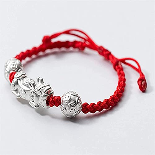 JIAJBG Feng Shui Bracelet Pixiu/Piyao Accessories Fine Knitted Hand Woven Red/Black Hand Rope Ad