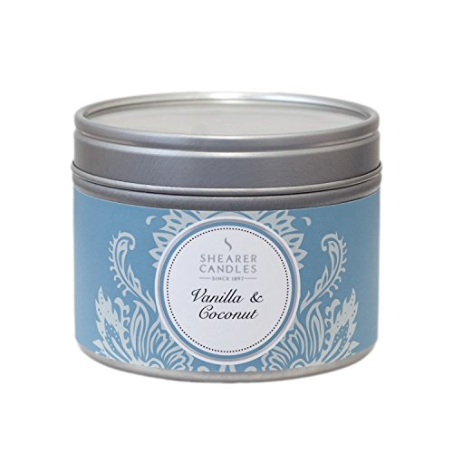 Shearer Candles Vanilla and Coconut Small Scented Silver Tin Candle – White