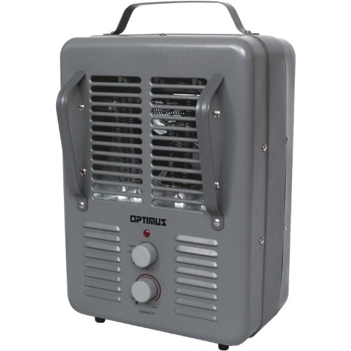 Optimus Portable Utility Heater with Thermostat, Grey