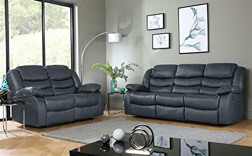 Roma Leather Recliner Sofa 3+2 Seater Luxury Sofa in Grey