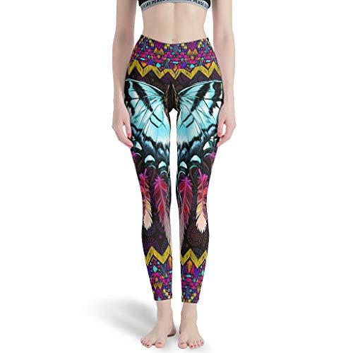 LIFOOST Native American Butteryfly - Polainas deportivas para niña, cintura alta, color blanco