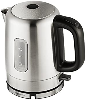 Amazon Basics Stainless Steel Portable Fast Electric Hot Water Kettle for Tea and Coffee 1 Liter Silver
