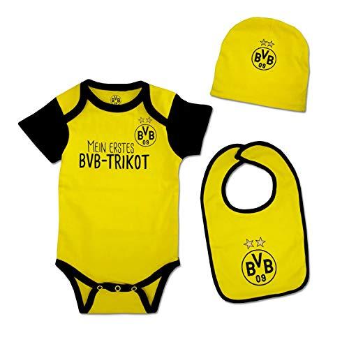 Borussia Dortmund Baby Geschenk Set 3teilig Gr. 62/68 (Body, Mützchen, Lätzchen) BVB 09 - Plus Lesezeichen I Love Dortmund