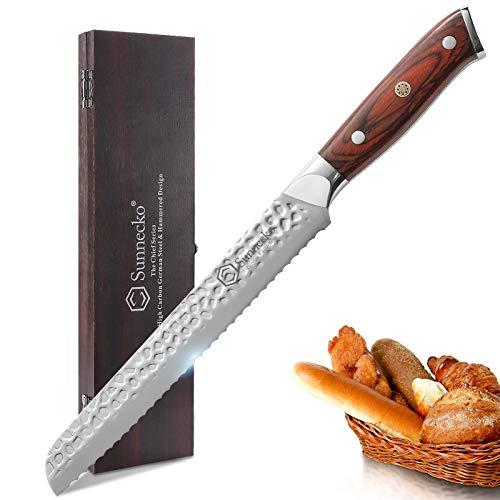 Sunnecko Wellenschliff-Brotmesser, 20,3 cm, Edelstahl, scharfes Küchenmesser mit Holzgriff, zum Schneiden von krustigem Brot, Kuchen und gefrorenem Fleisch