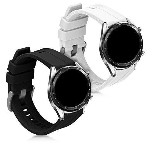 kwmobile Pulsera Compatible con Huawei Watch GT (46mm) - 2X Correa de TPU para Reloj Inteligente - Blanco/Negro