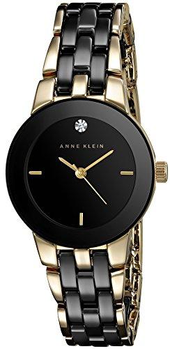 Anne Klein Women's AK/1610BKGB Diamond Dial Gold-Tone and Black Ceramic Bracelet Watch