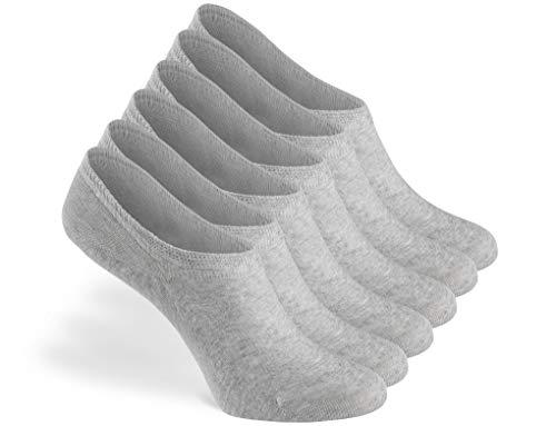 Greylags PREMIUM Invisible Sneaker Socken, rutschfest, 6 Paar - gekämmte Baumwolle bequem ohne drückende Naht in grau - 43-46