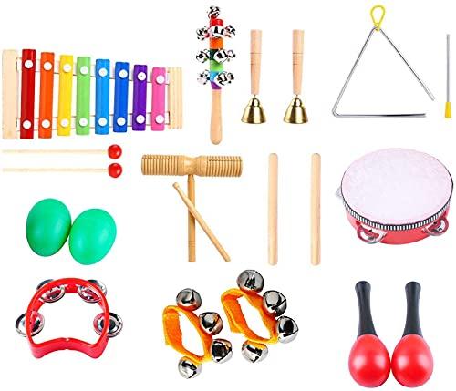 Poweka Juguetes de Instrumentos Musicales para Niños, Instrumentos Musicales Infantiles 12 Tipos, Juguetes Musicales de Percusión para Niños, Juguete Instrumento Educativo Bebés Regalos
