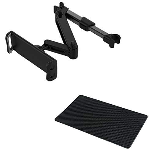 Neihan Soporte para reposacabezas de coche, ngulo de 360 ajustable para asiento trasero de coche para iPad de 5 a 14 pulgadas, tablet, smartphone, Switch con alfombrilla antideslizante (negro)