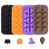 4Pcs/Set Halloween Chocolate Candy Molds, Bat Pumpkin Witch Hat Ghost Skull Silicone Jello Fat Bomb Molds, Mini Soap Wax Crayon Melt...