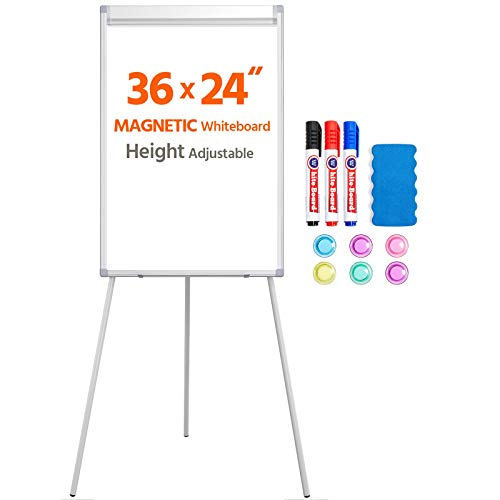 Yaheetech Height Adjustable Tripod Magnetic Whiteboard Portable Dry Erase Board with Stand for Office Classroom Meeting, Easel Stand Whiteboard 36x24 in
