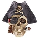 NOMIMAS 1PCS Home Ornament Creative Statue Artificial Skull Pirate Tricorn Hat Art Craft Decoration Gothic Desk Figurine