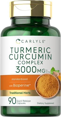 Turmeric Curcumin with Bioperine   3000 mg   90 Powder Capsules   Joint Support Complex with Black Pepper   Non-GMO, Gluten Free Supplement   by Carlyle