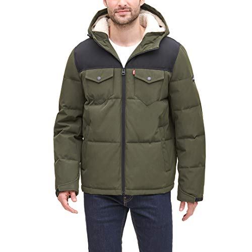 Levi's Men's Heavyweight Mid-Length Hooded Military Puffer Jacket, Olive/Black, Large