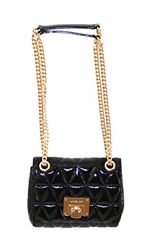 "Patent metallic leather Push-lock closure Gold tone hardware Chain strap can be used as a cross body or shoulder 7.5"" Top (W ) x 6.5"" (H) x 2.75"" (D)"